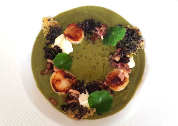 Alison Victor_Split Pea Soup with Bacon, Scallops_Quinoa and Black Lentil Parmesan Crisps