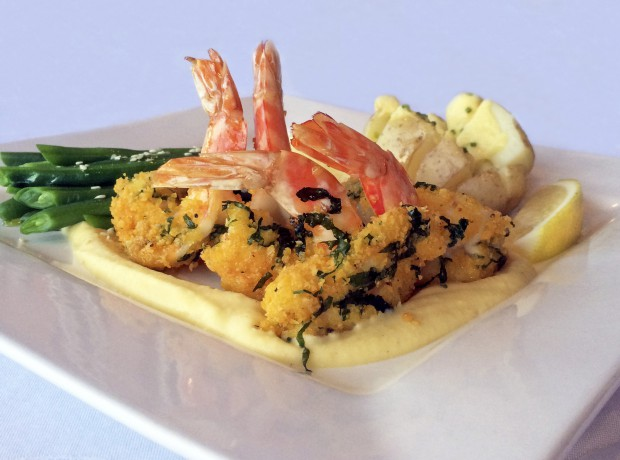 Lupin lemon & parsley crusted praws with garlic lupin puree