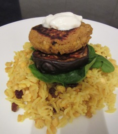 Curried chickpea stacks