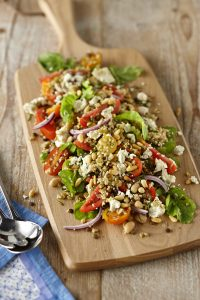 quick and easy legume based salad featuring mckenzie's superblends fibre mix and tomato and feta