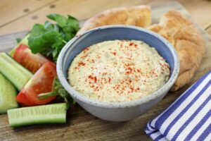 a quick and easy hummus recipe made with broad beans or faba beans