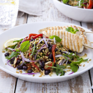 quick and easy black bean and freekah salad recipe perfect for a summer bbq