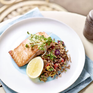 kellogg's easy grilled salmon and all bran pilaf with wild rice