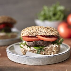 bakers delight portobello mushroom burgers with vegan mayo