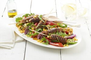 quick and easy lentil koftas and BBQ capsicum salad
