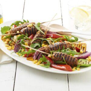 quick and easy lentil koftas and BBQ capsicum salad