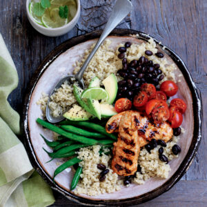 Quinoa Bowl with Grilled Chicken, Black Beans & Avocado