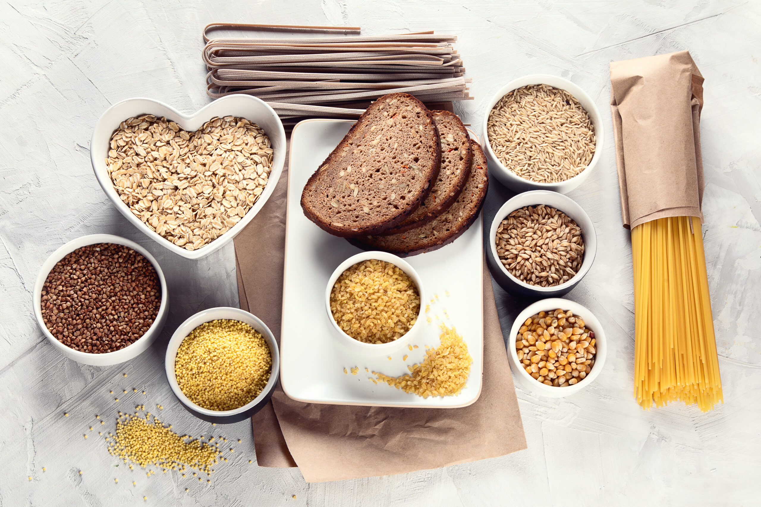 Enjoy grain foods 3-4 times a day, choosing at least half as whole grain or high fibre