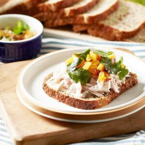 Poached Chicken, Mango & Coriander Open Sandwich