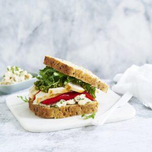 Roasted Chicken, Capsicum & Pesto Sandwich